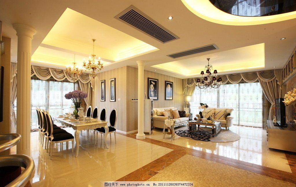 別墅      過道 走廊 餐廳 飯廳 歐式 瓷磚 磁磚 家具 柱子 沙發 大氣