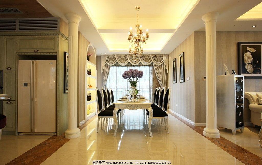 欧式别墅 陶瓷 抛光砖 仿古砖 别墅      过道 走廊 餐厅 饭厅 欧式