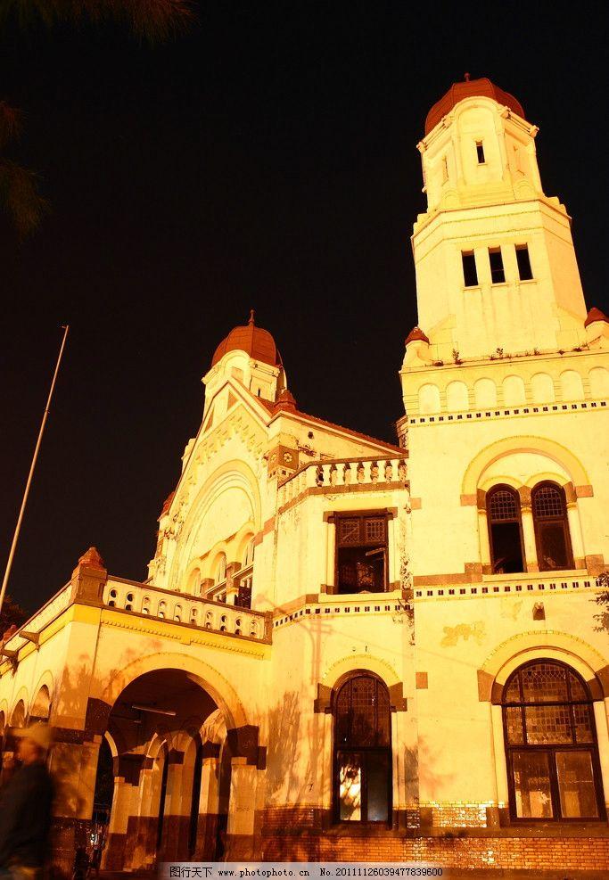 欧式建筑夜景图片