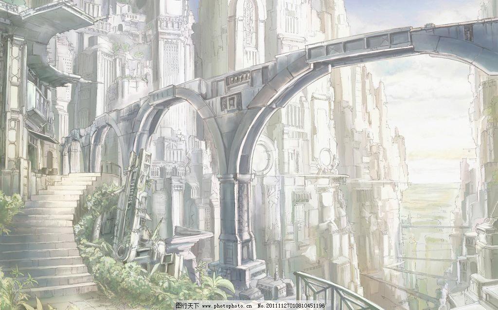 建筑 台阶 楼梯 城堡 风景 背景 场景 天空 山脉 奇幻 迷幻 拱门 石柱
