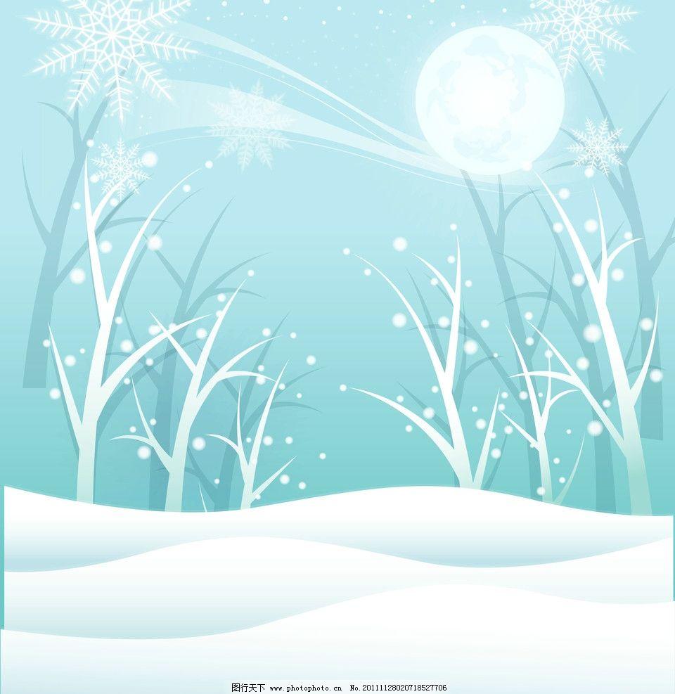 月影 树 雪花 月亮 雪 圆 移门图案 底纹边框 设计 72dpi jpg