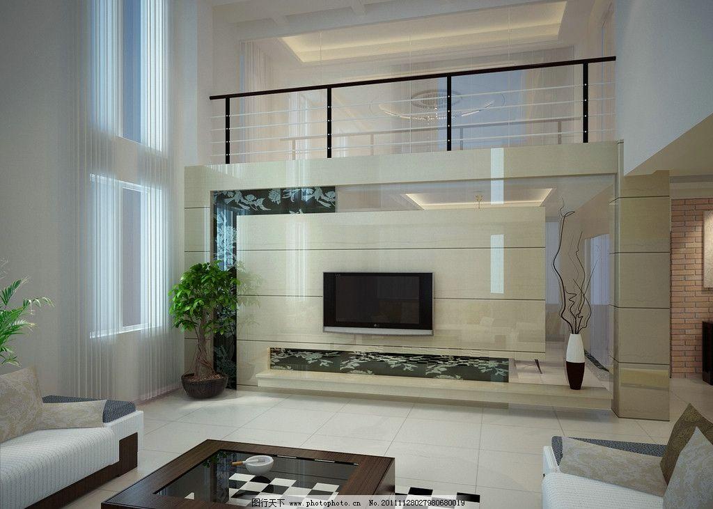 楼中楼电视背景 楼中楼客厅电视背景 电视 沙发 室内设计 环境设计 设