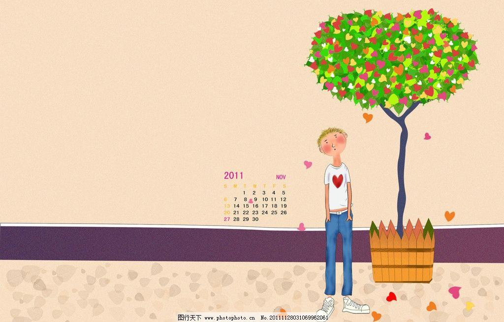几米漫画 几米漫画手绘 树 叶子 爱心 落叶 人物 其他模版 广告设计模