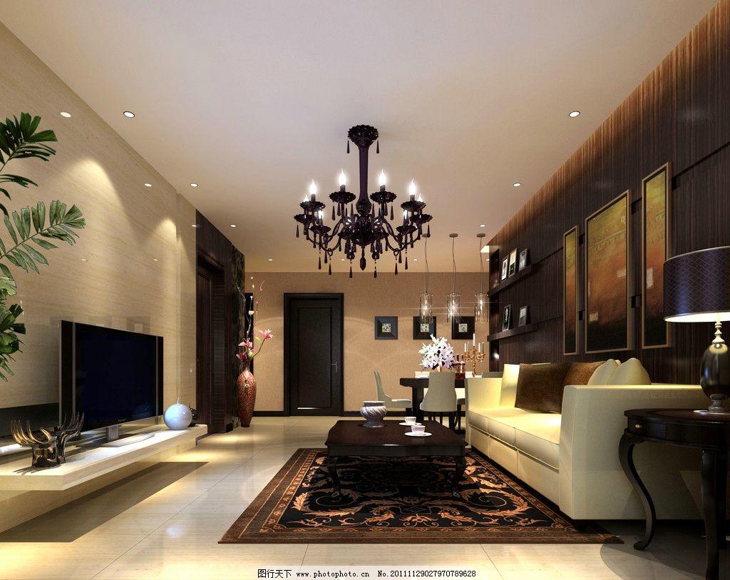 欧式简约风 吊灯 沙发 台灯 电视 地毯 茶几 室内设计 环境设计