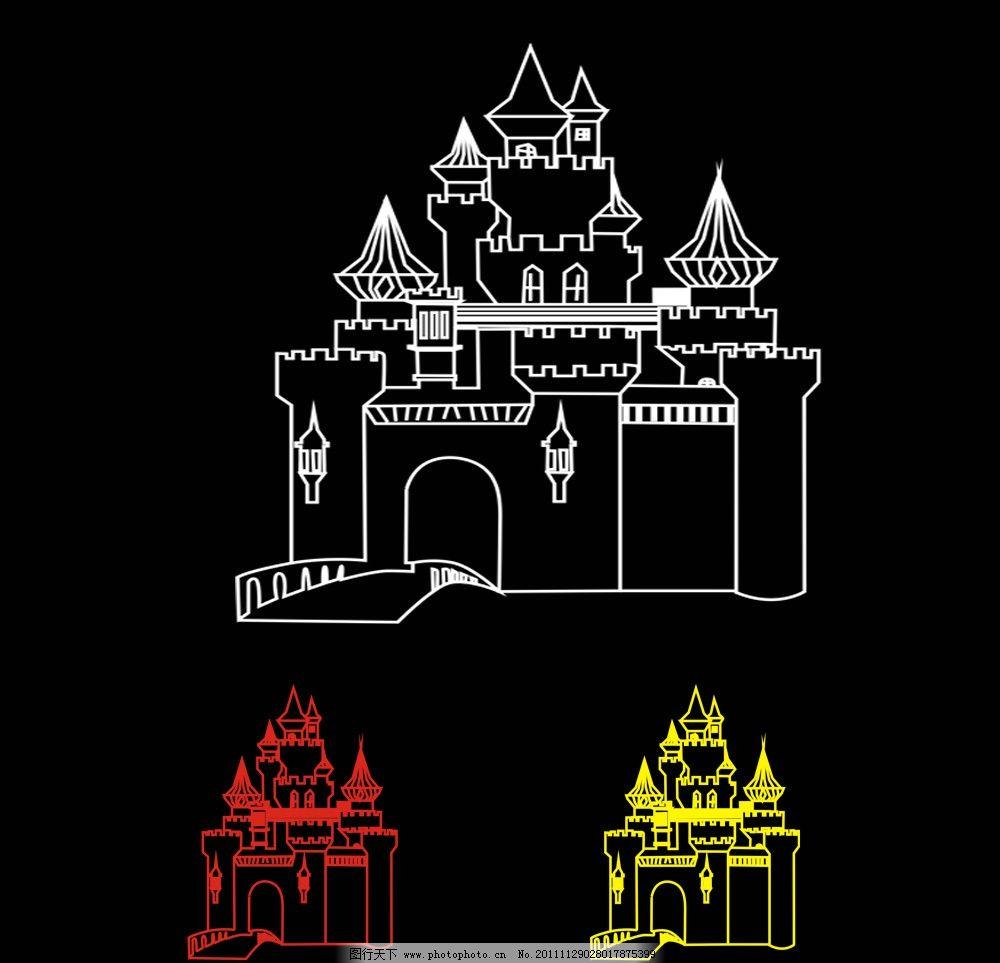 城堡线描 简笔画 建筑线条矢量图 传统建筑 建筑家居图片