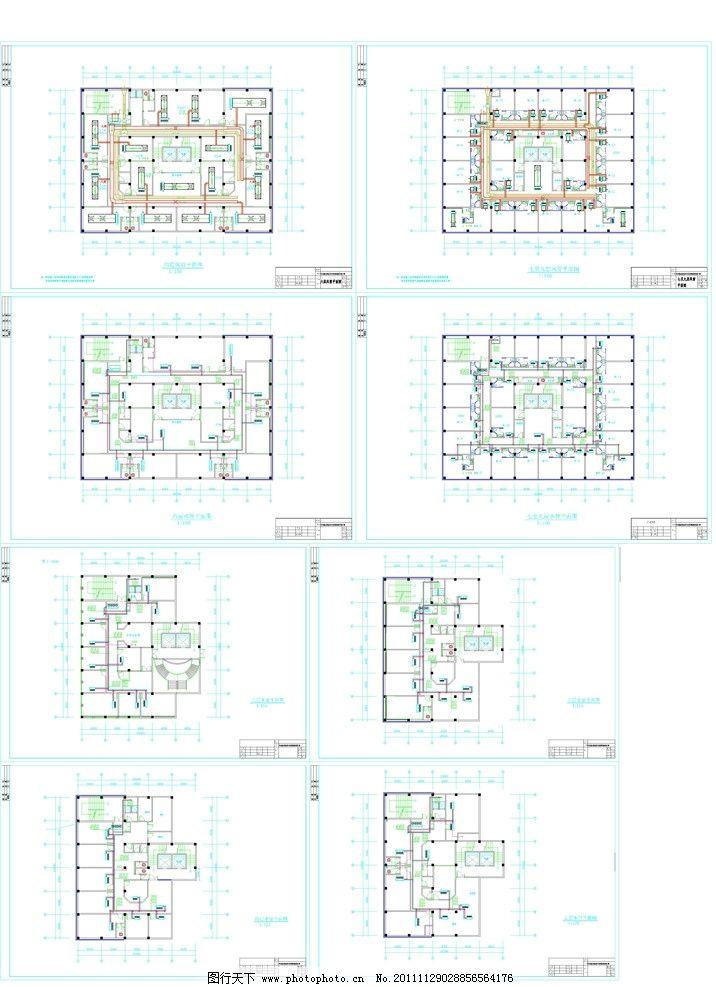 水管平面图 风管平面图 空调安装平面图 安装平面图 施工图纸 cad设计
