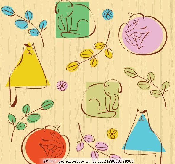可爱线稿猫咪图案 可爱 卡通 猫咪 图案 手绘 插画 线条 小鸟 树叶