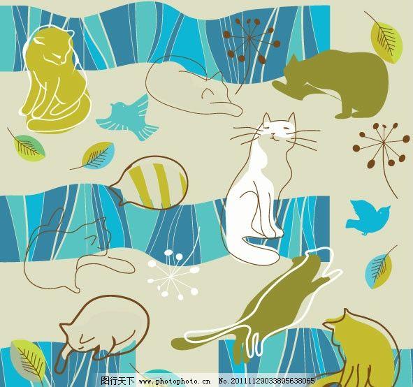 可爱线稿猫咪图案 卡通 手绘 插画 线条 小鸟 树叶 花纹 边角