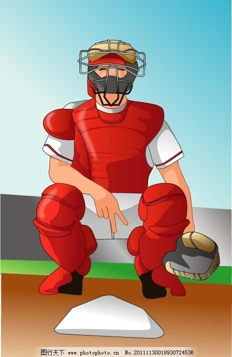 垒球比赛人物 打垒球 棒球 奥运 运动 足球 卡通 可爱 体育项目