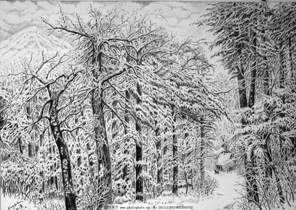 傲雪 钢笔画 方祖汉 大幅 精细钢笔画 风景 写真 雪景 树林 野外 小