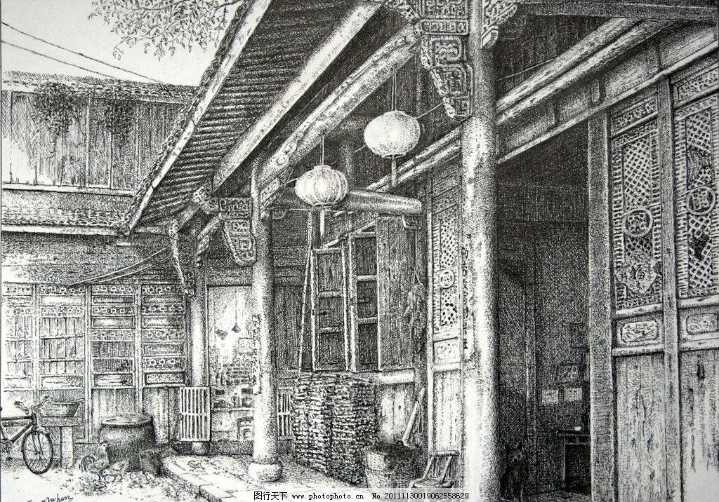 老屋 钢笔画 方祖汉 大幅 精细钢笔画 风景 写真 老式房屋 民俗 绘画