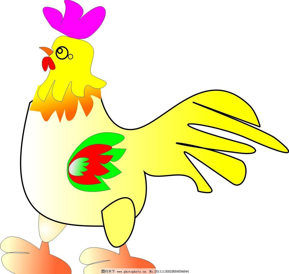 可爱的鸡 动物 卡通鸡