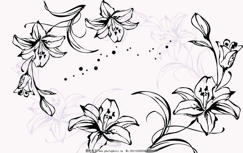 电视背景墙 百合花 黑白百合花 花纹 花瓣 玻璃印花 广告设计模板