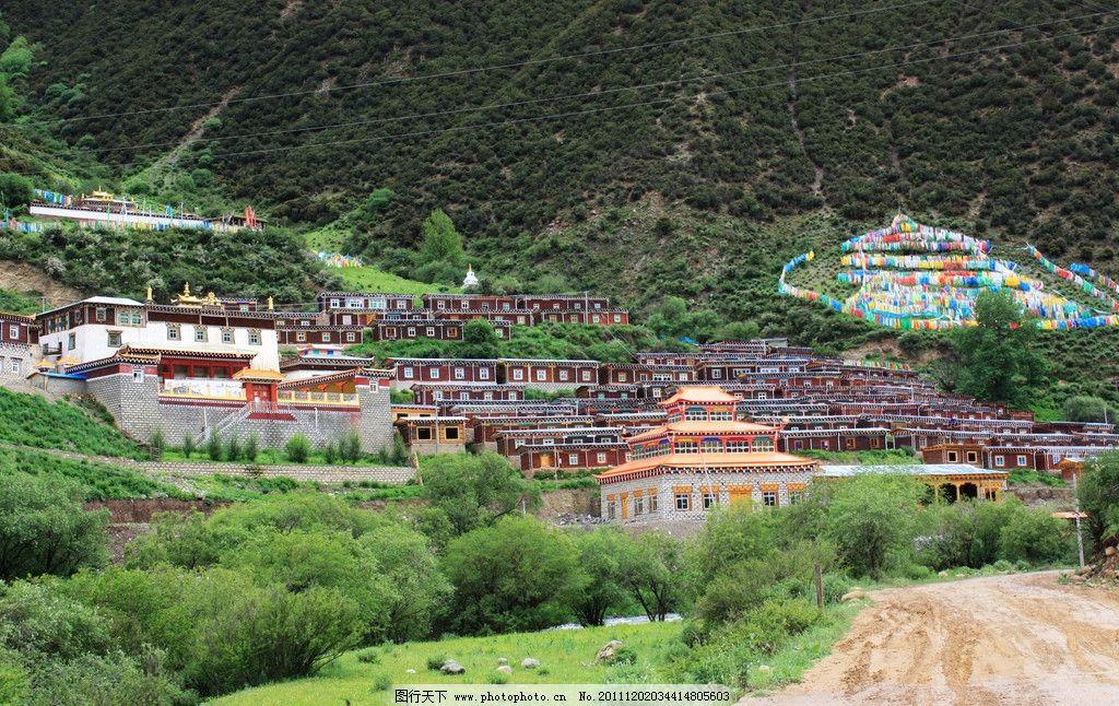 西藏 藏式住宅 山峦 绿色 草地 房子 绿树 山水风景 自然景观 摄影 72图片