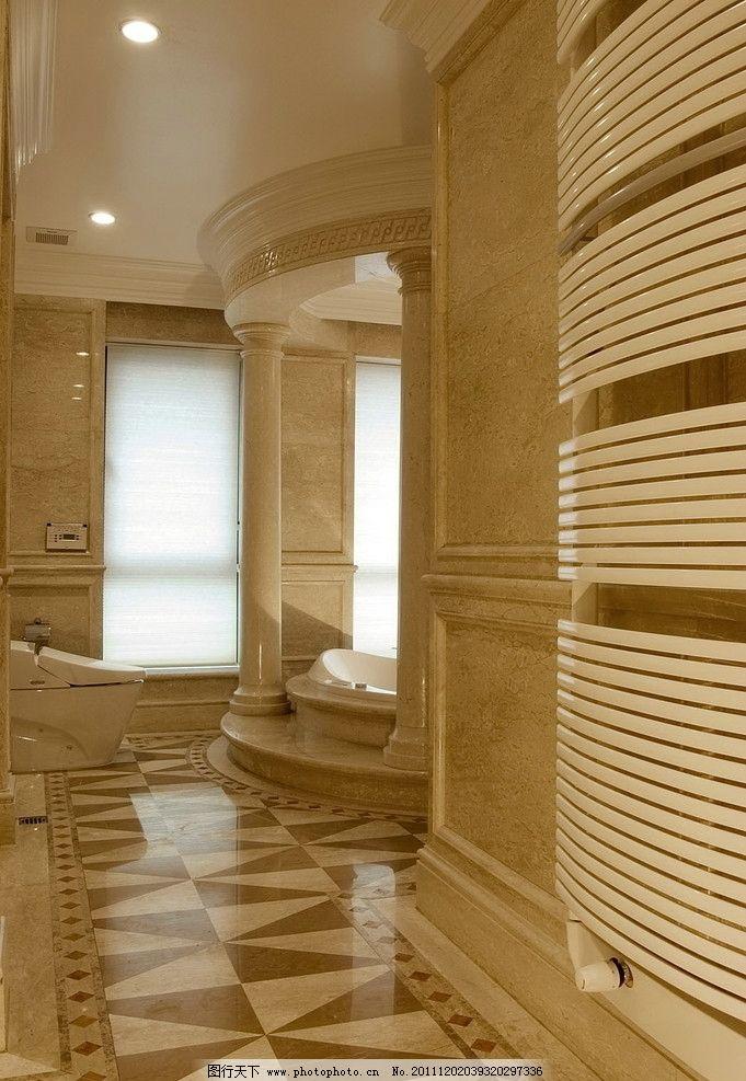 室内 卫浴 浴缸 浴室 马桶 切割 拼花 高档 大气 欧式 别墅 腰线 柱子