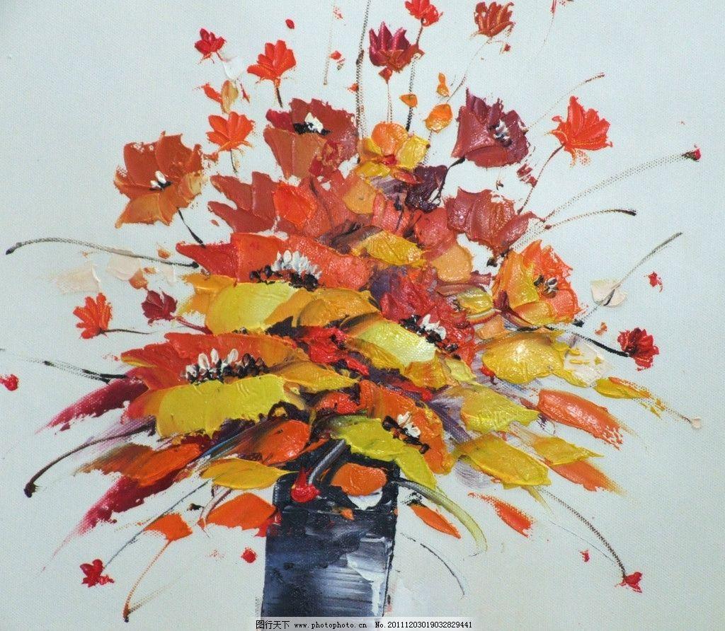 油画 油画花卉 图案 抽象艺术 印花 面料花 抽象底纹 底纹边框 设计