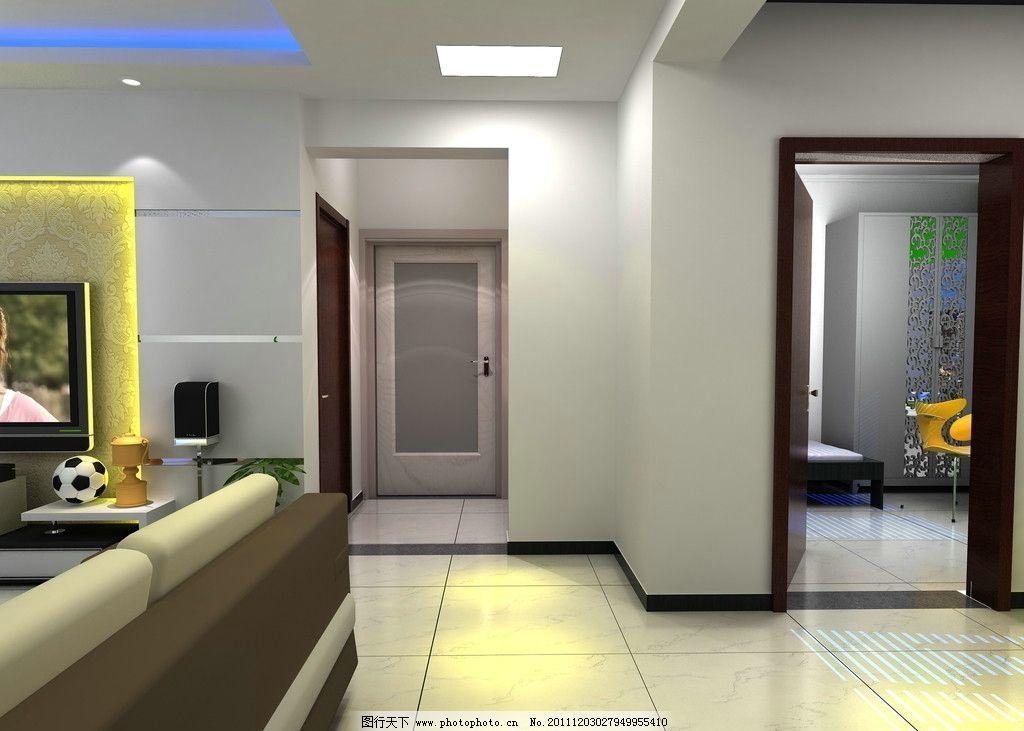 客厅效果图      电视机背景墙 走廊 灰镜 壁纸 阳台 灯光 灯带 空间