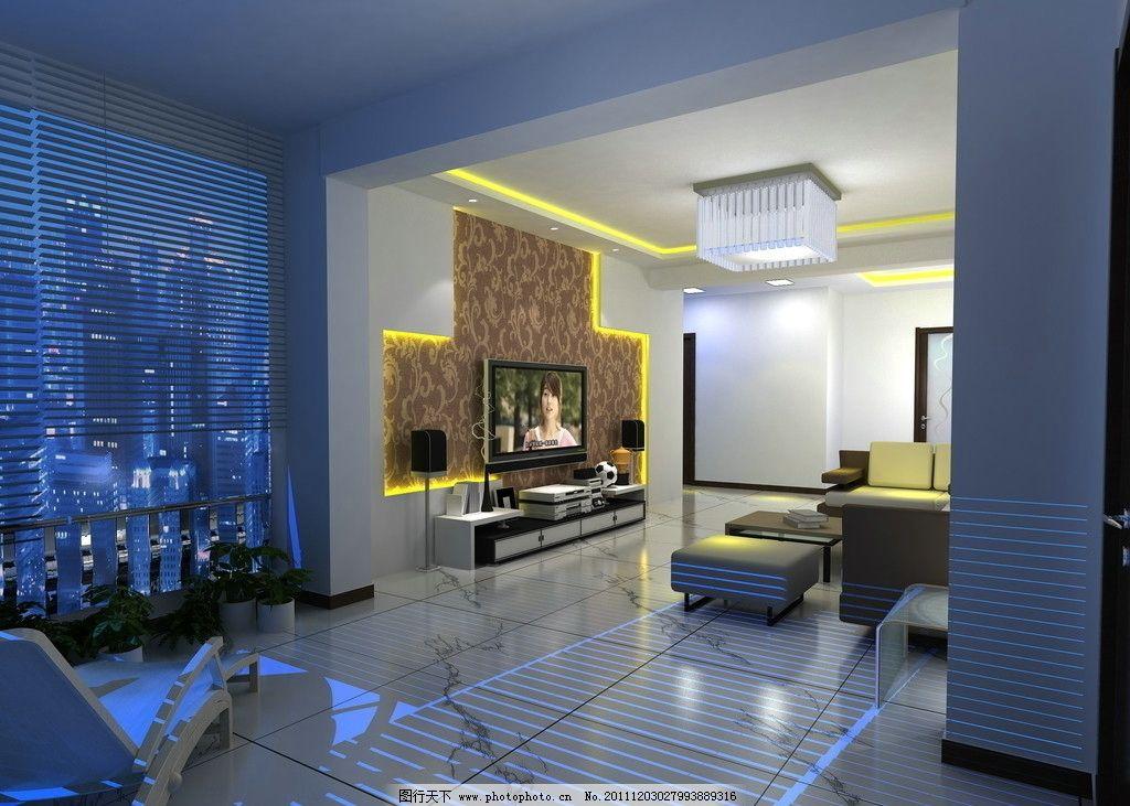 客厅效果图 电视机背景墙 家电组合 壁纸 阳台 沙发 灯光 灯带