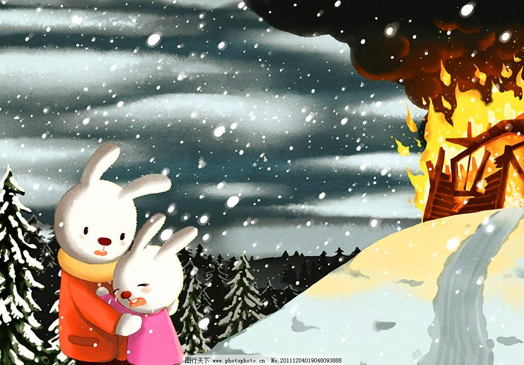 雪孩子 动画 兔子 兔妈妈 动漫 童年 动画片 卡通 绘本 手绘 艺术