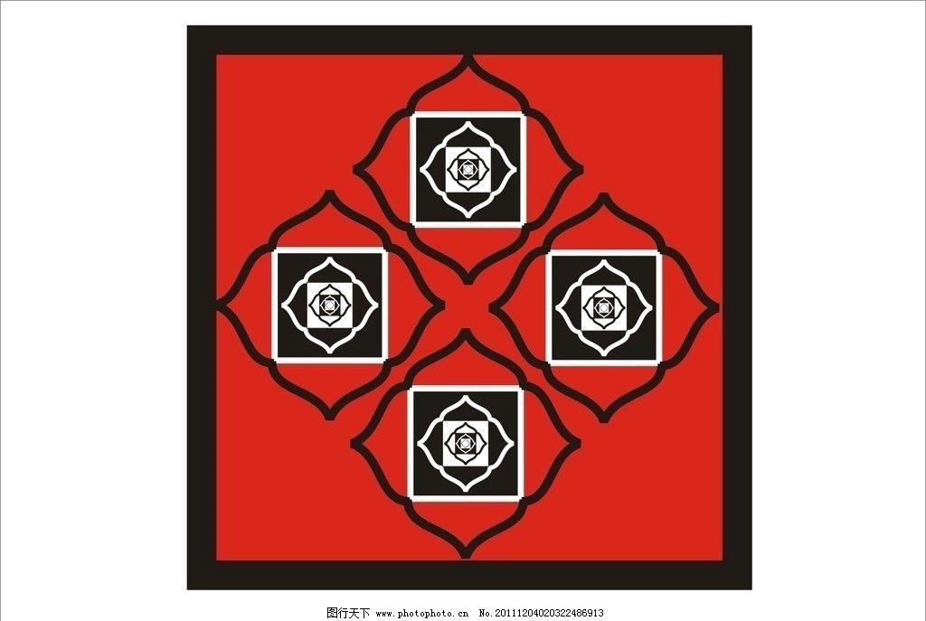 花纹 底纹 红色 边框 矢量图 正方形 花纹花边