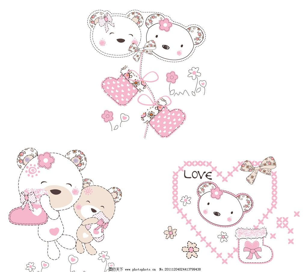 小熊 可爱的小熊 心形 靴子 蝴蝶结 小花 野生动物 生物世界 矢量 ai
