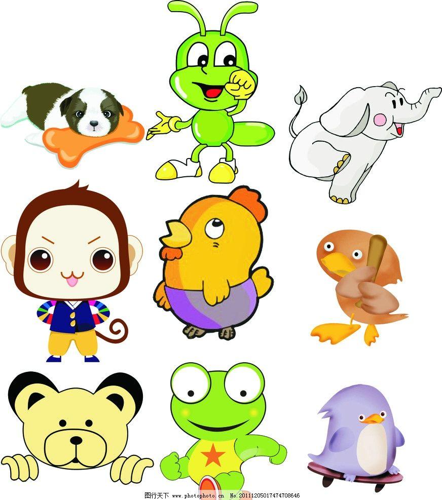 卡通动物 猴子 鸟 蚂蚁 大象 狗 虎头 鸡 滑板 骨头 可爱-可爱的大象卡通画