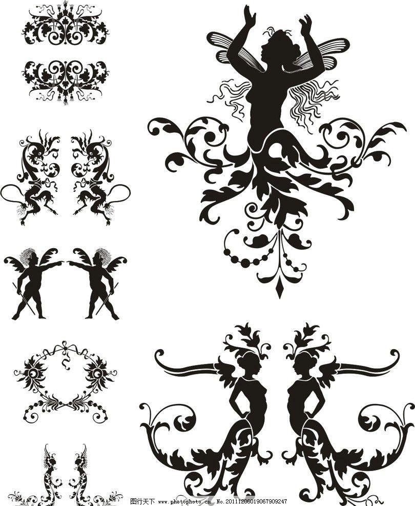 矢量底纹素材 艺术 花纹 舞蹈 创意 女人 龙 天使 美术绘画