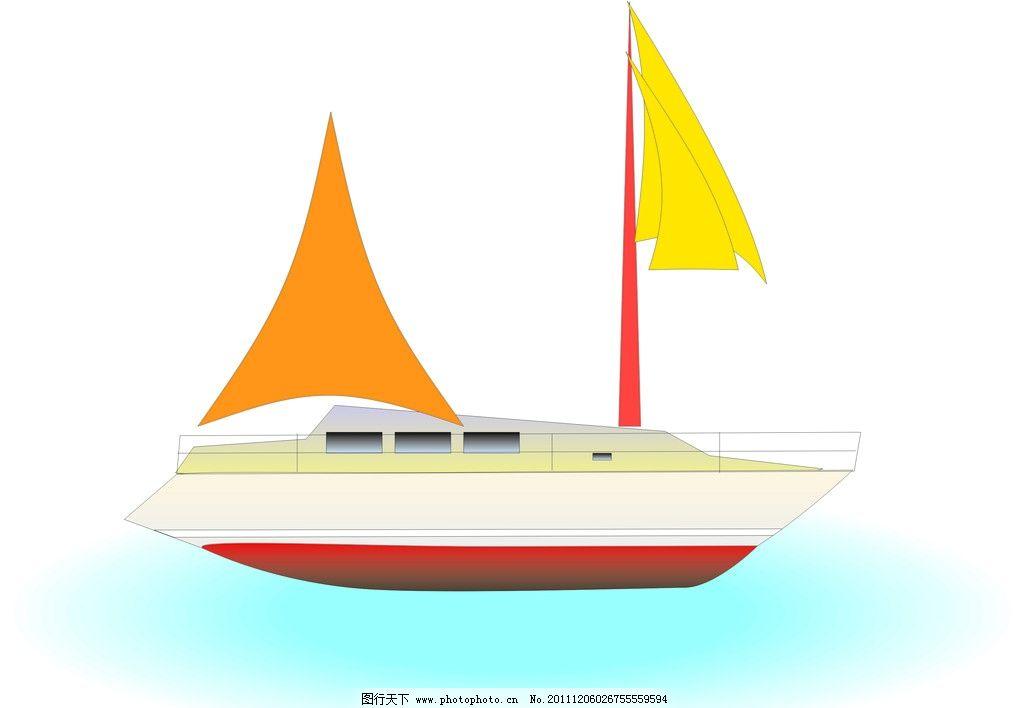 小帆船 帆船 交通工具 现代科技 矢量 cdr