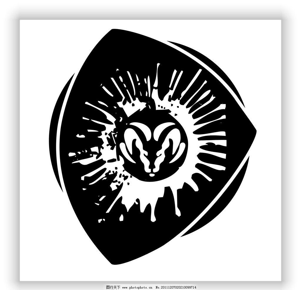 韩国 黑白 潮流 时尚 牛头 马面 矢量 狮子 头 花纹 黑色 太阳 火鹰