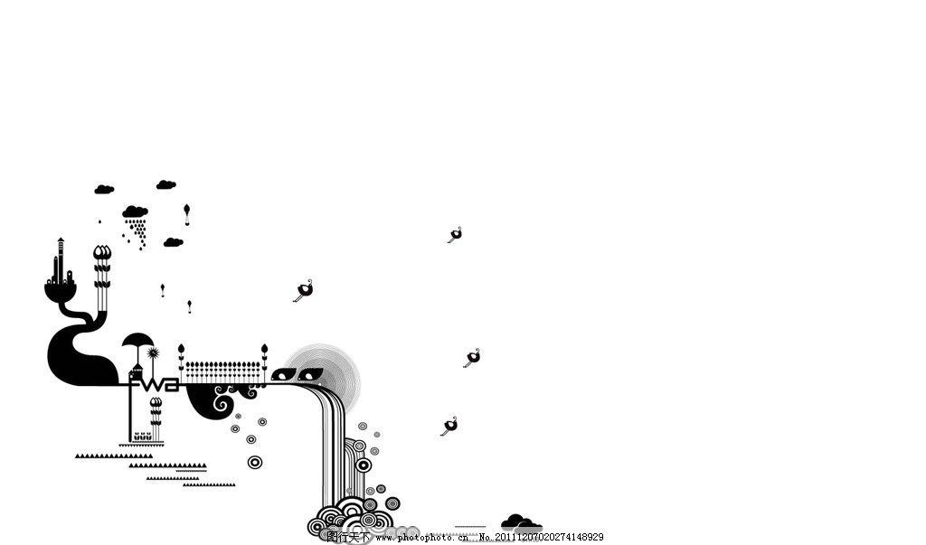 黑白花边 黑白花边画框 云朵 线条 抽象图案 背景底纹 底纹边框 设计