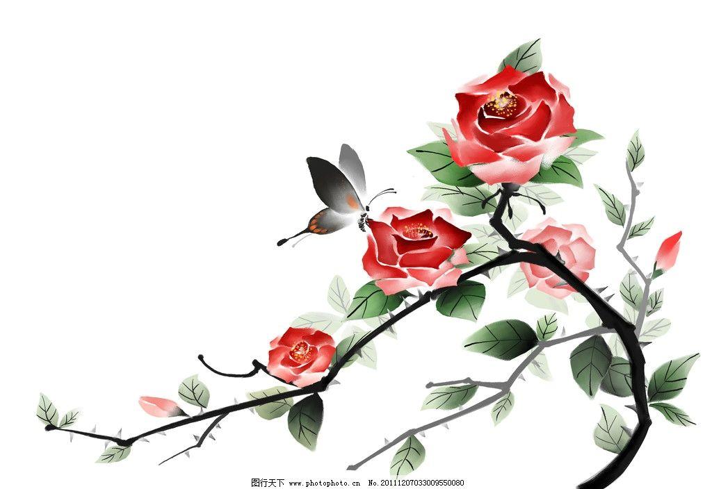 手绘蝴蝶 牡丹图片