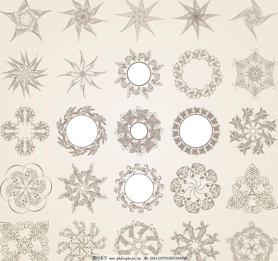 矢量 欧式 古典 圆形 线条 手绘 动感 旋转 星星 风车 蜜蜂 雪花 团花