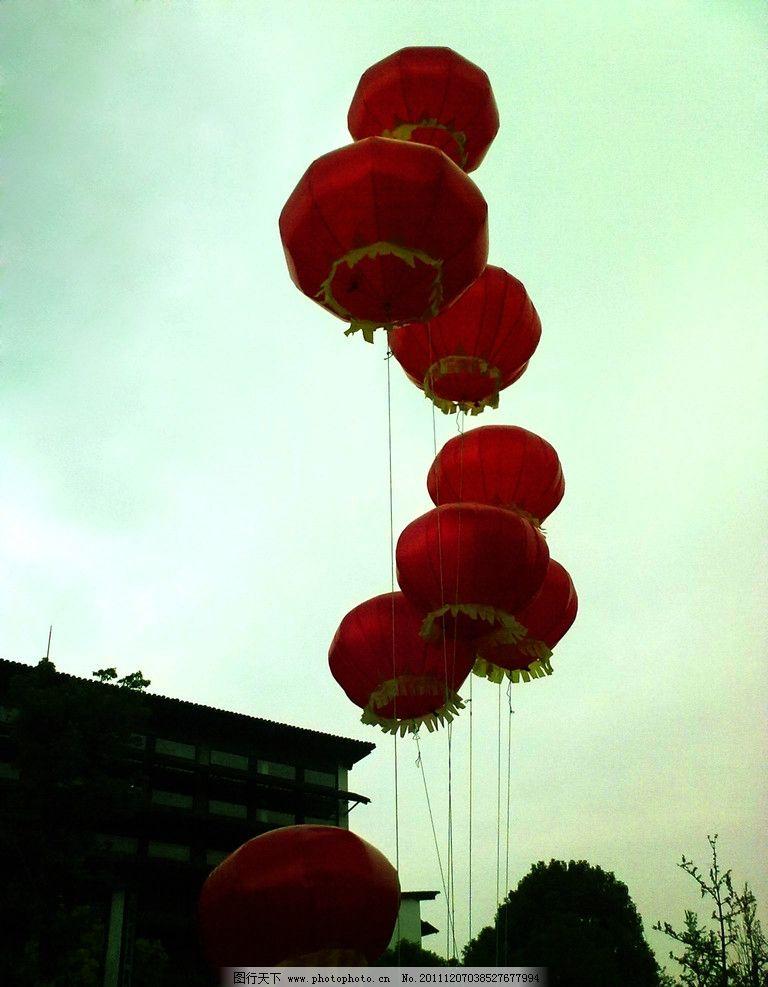 灯笼 天空 建筑 树木 线 传统文化 文化艺术 摄影 450dpi jpg