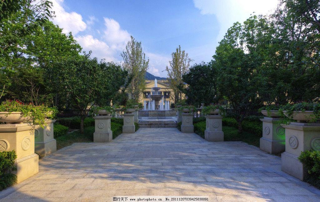 高档小区景观 欧式 景观步道 喷泉 建筑摄影 建筑园林 摄影 240dpi图片