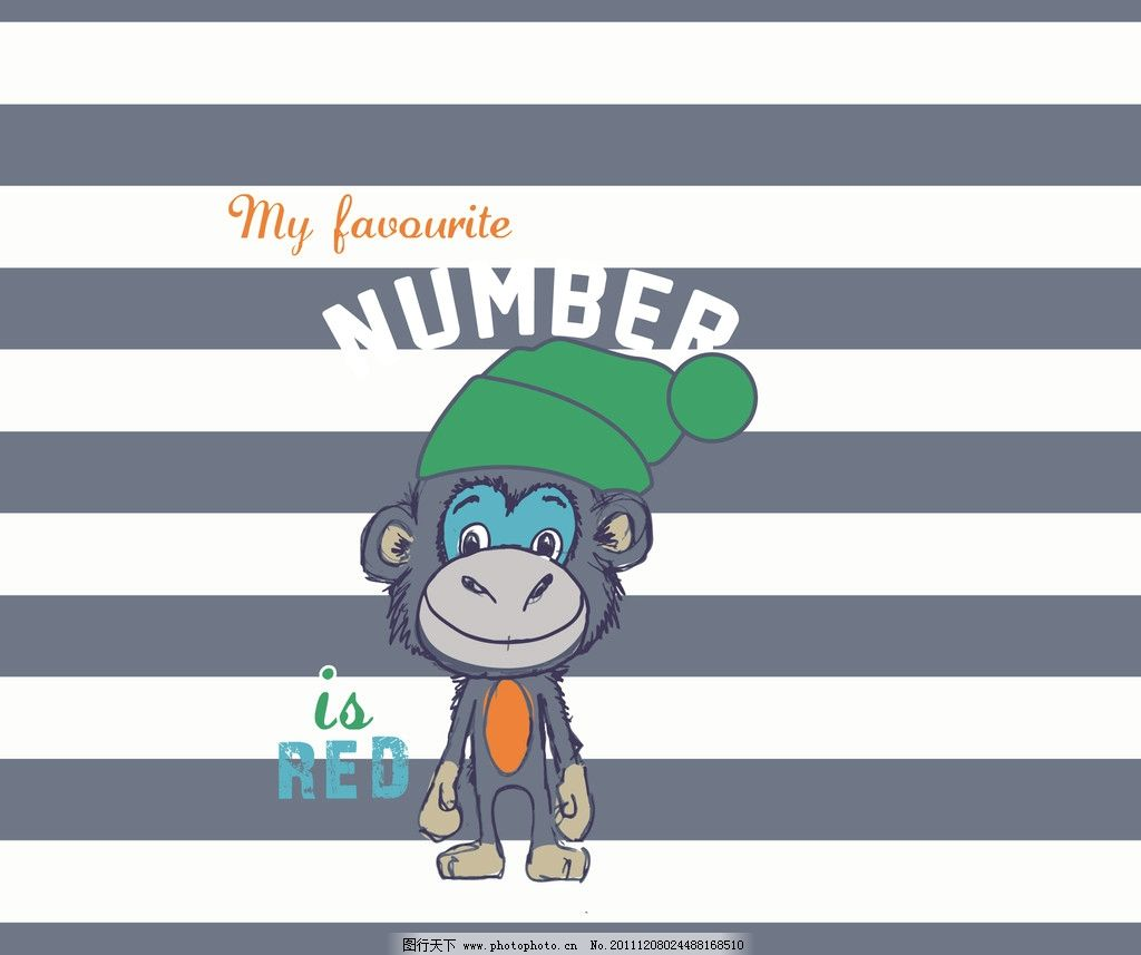 可爱的猩猩 猩猩戴帽子的猩猩 线条底纹 英文字 野生动物 生物世界