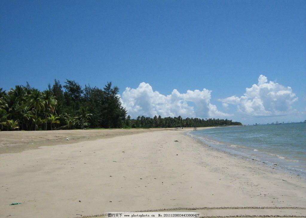 海景 海边 沙滩 椰子树 蓝天 白云 夏日 夏天 清凉 海南 旅游 山水