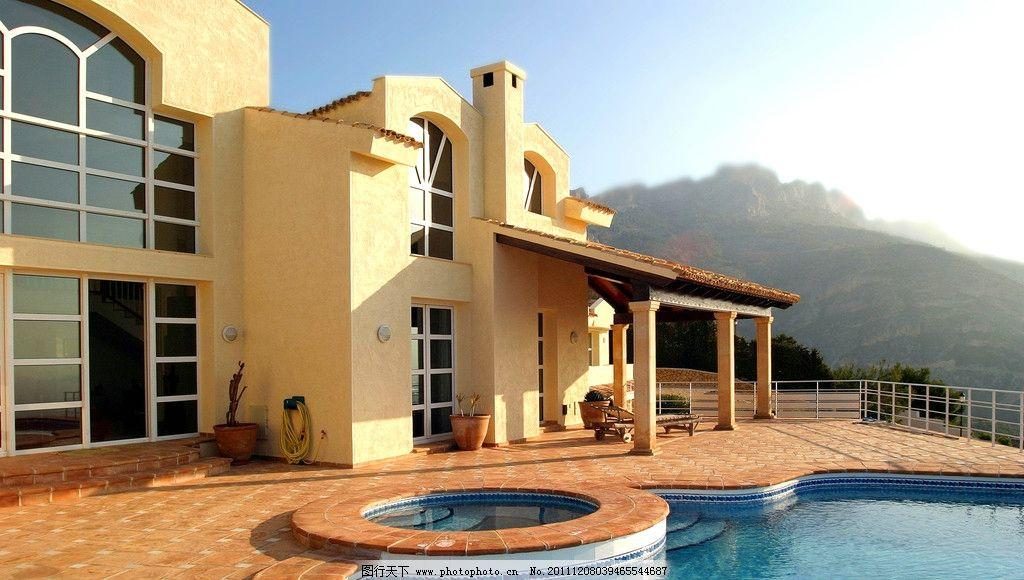 别墅游泳池 洋房 庭院 院子 欧式 庄园 小区 房地产 地产 房产