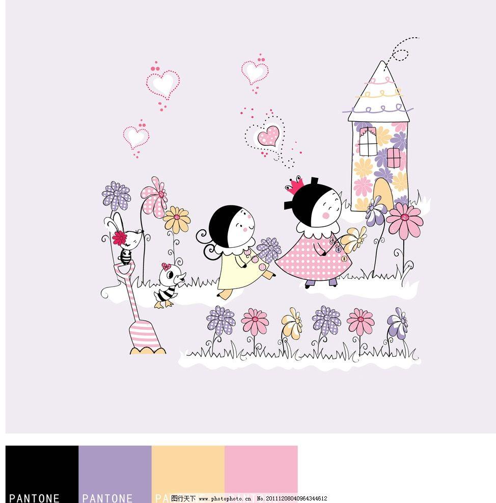 儿童和小花图片_动画素材_flash动画_图行天下图库