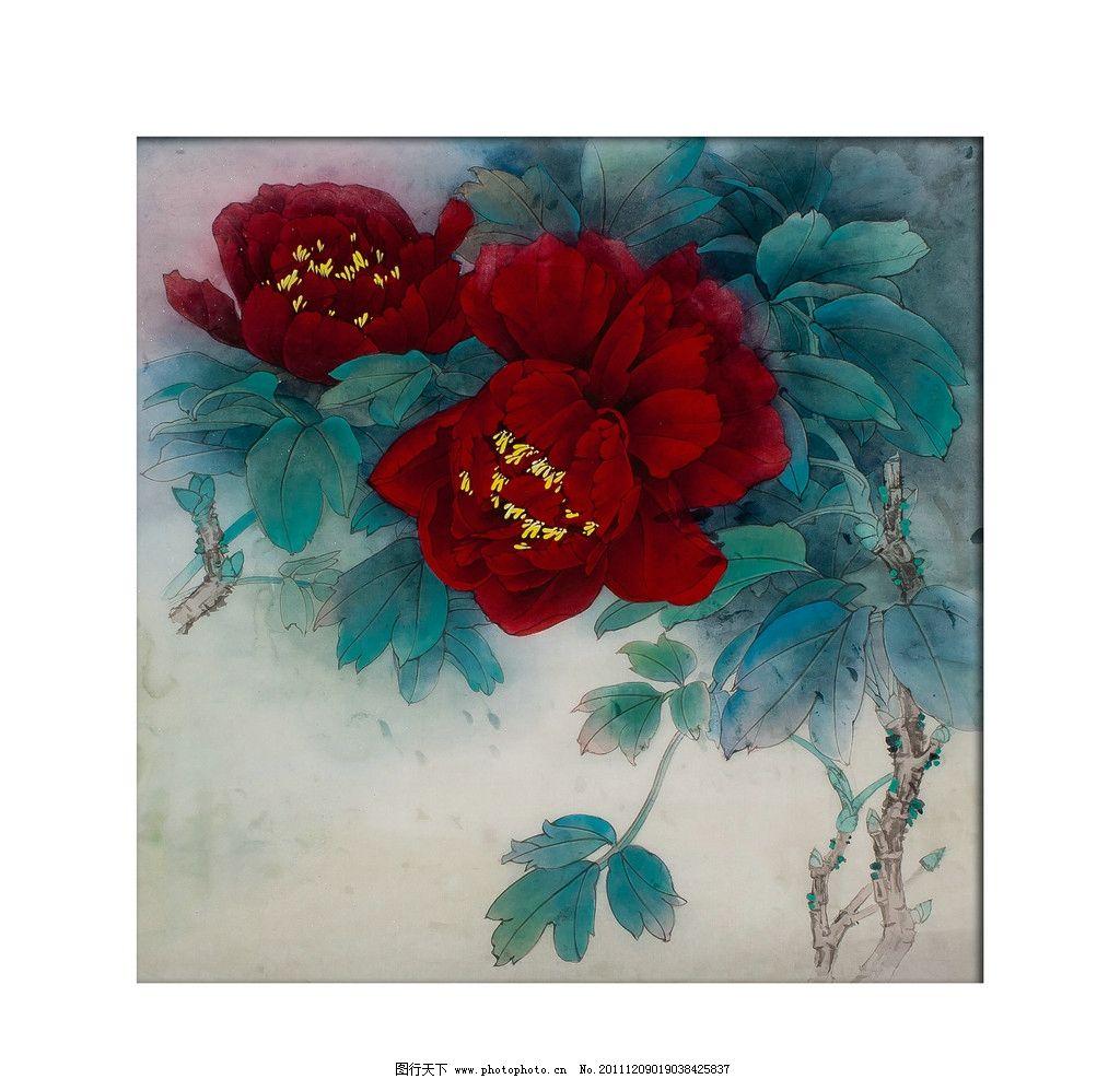 工笔牡丹 工笔画 牡丹 红牡丹 绘画书法 文化艺术 设计 300dpi jpg