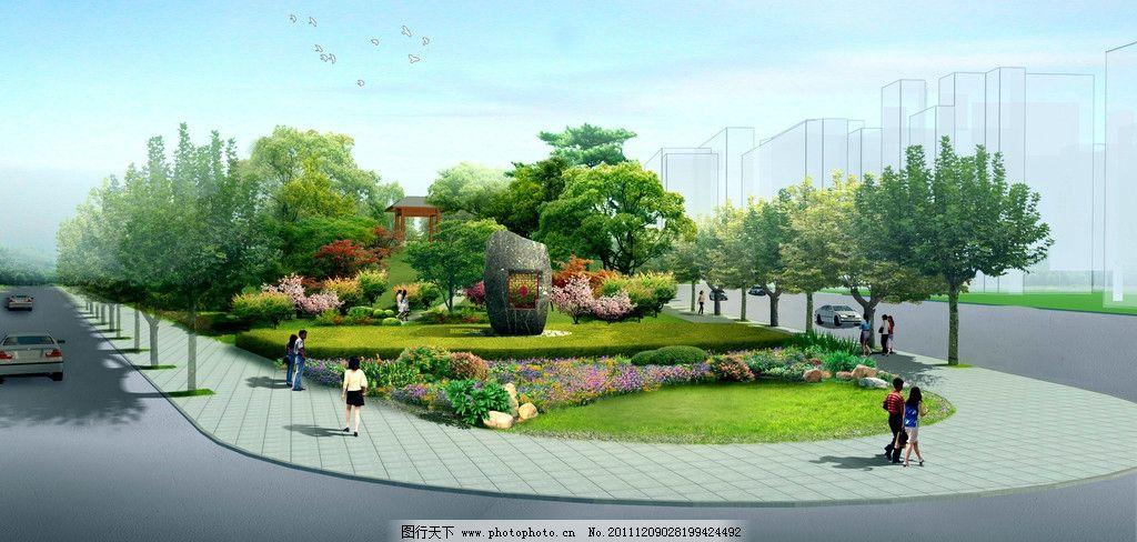 园林景观效果图 建筑效果图 景观后期贴图 园林小品 配景 树木