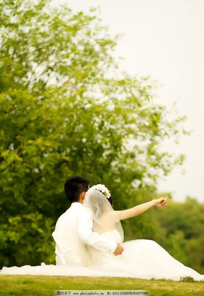 纯结白色 婚纱照 外景 唯美婚纱 人物摄影
