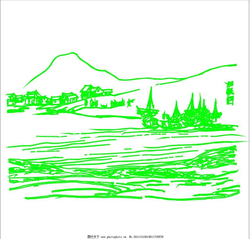 山水风景 山水画 风景画 自然风景 青山绿水 飞鸟 远山 绿树