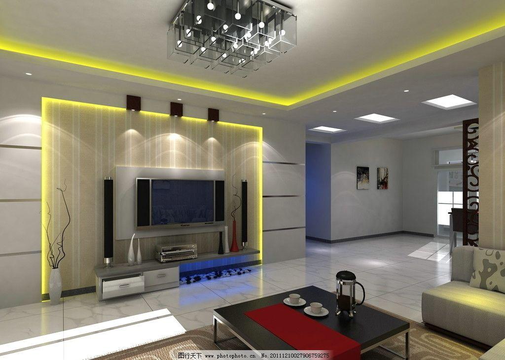 室内客厅效果图      电视机背景墙 造型 吊顶 壁纸 灯带 隔断 茶几