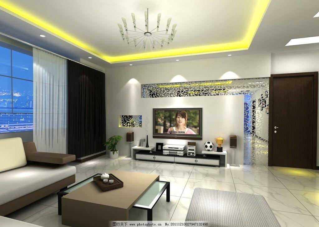 客厅效果图      电视机背景墙 造型 吊顶 壁纸 灯带 隔断 茶几 沙发