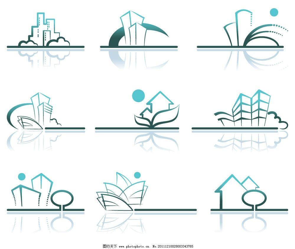 手绘线条都市城市建筑图片