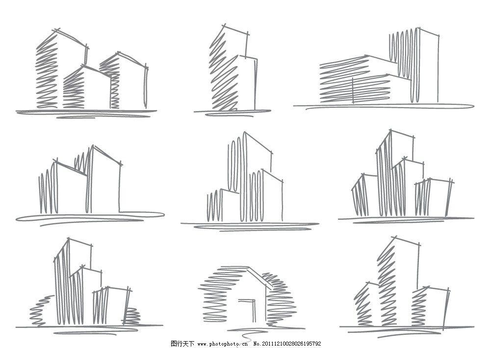 手绘线条都市城市建筑矢量图片