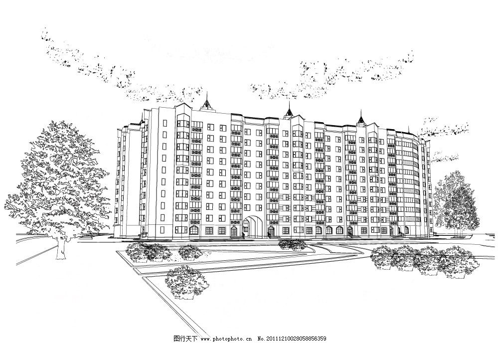 手绘 都市建筑 城市建筑 高楼 大厦 房屋 房子 建筑 房地产 矢量 城市