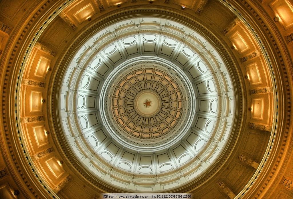 金色大厅顶部 穹顶 五角星 圆顶 华丽建筑 欧式建筑 古典建筑