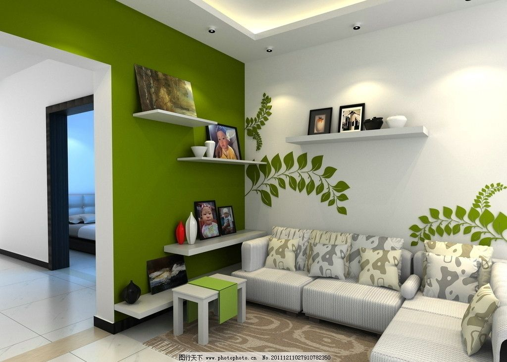 客厅效果图 手绘墙 吊顶 灯带 书架 地毯 室内角落设计 沙发