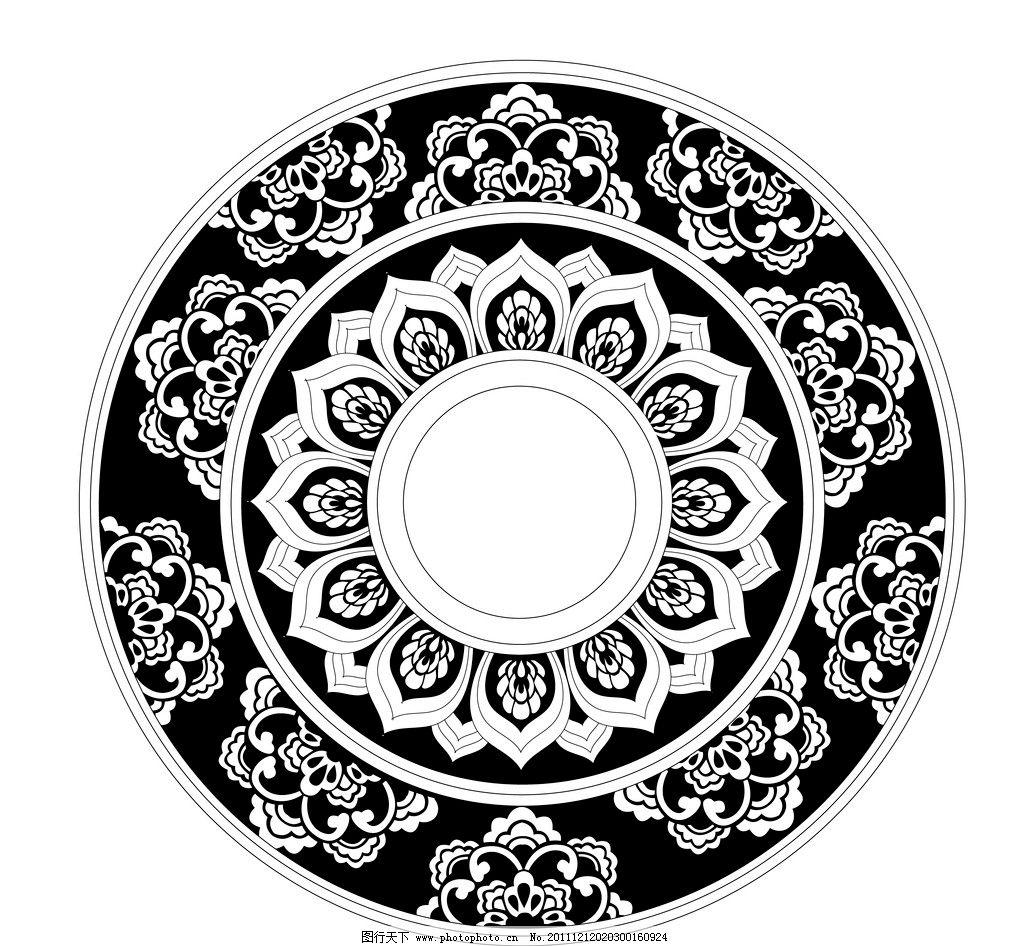 黑白中国莲花图案 黑白 中国 图案 花边花纹 底纹边框 设计 300dpi